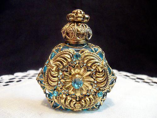 Teal Blue Jeweled Vintage Czech Bohemian Filigree Mini Perfume Bottle NR | eBay