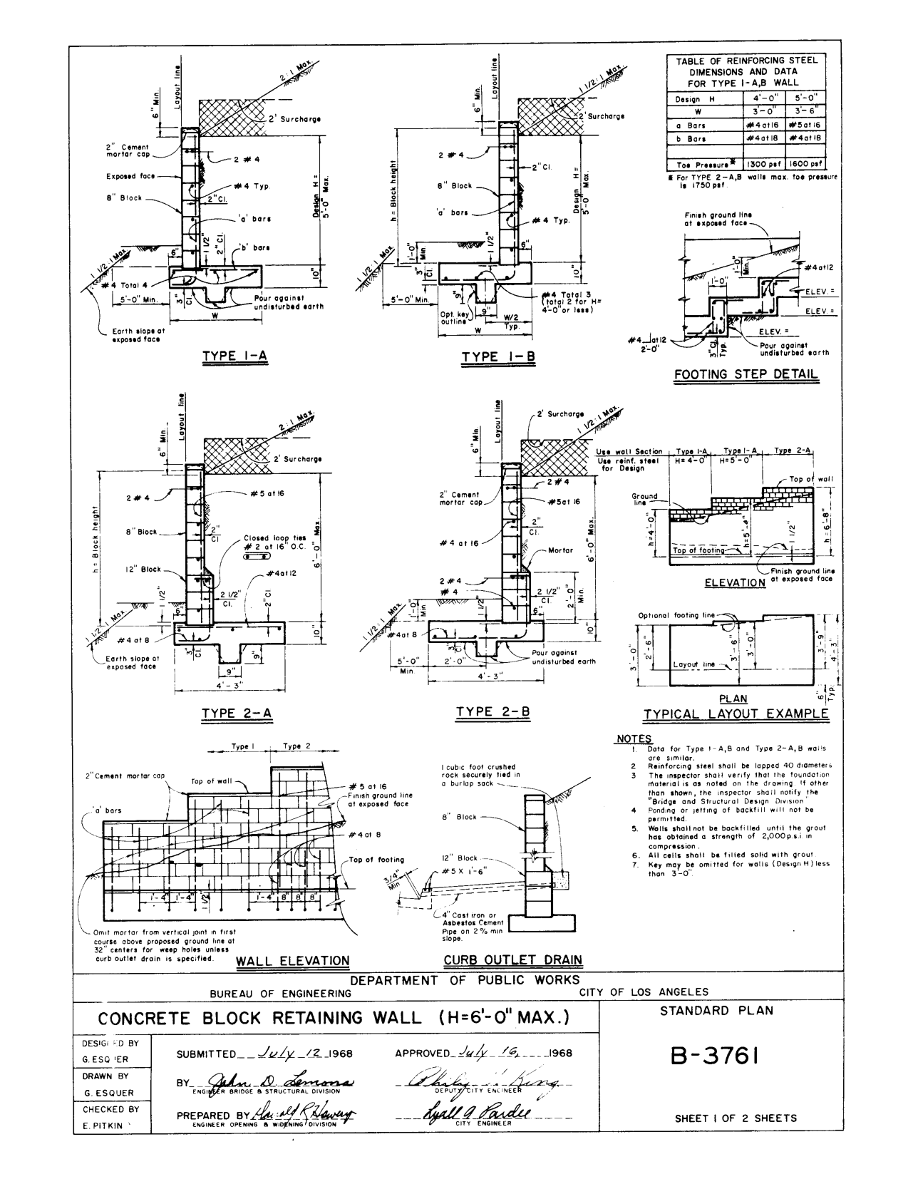Concrete Block Retaining Wall Detail Detail Drawings