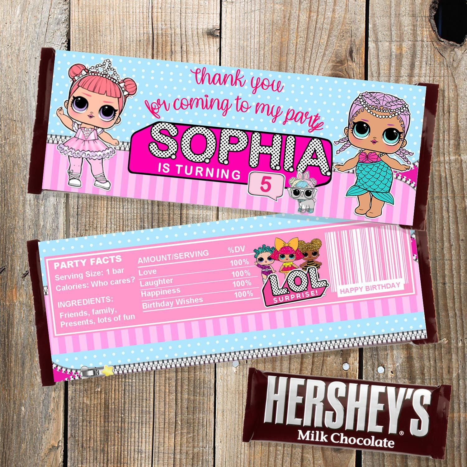 Personalized LOL Surprise Dolls Chocolate Wrappers Digital ...
