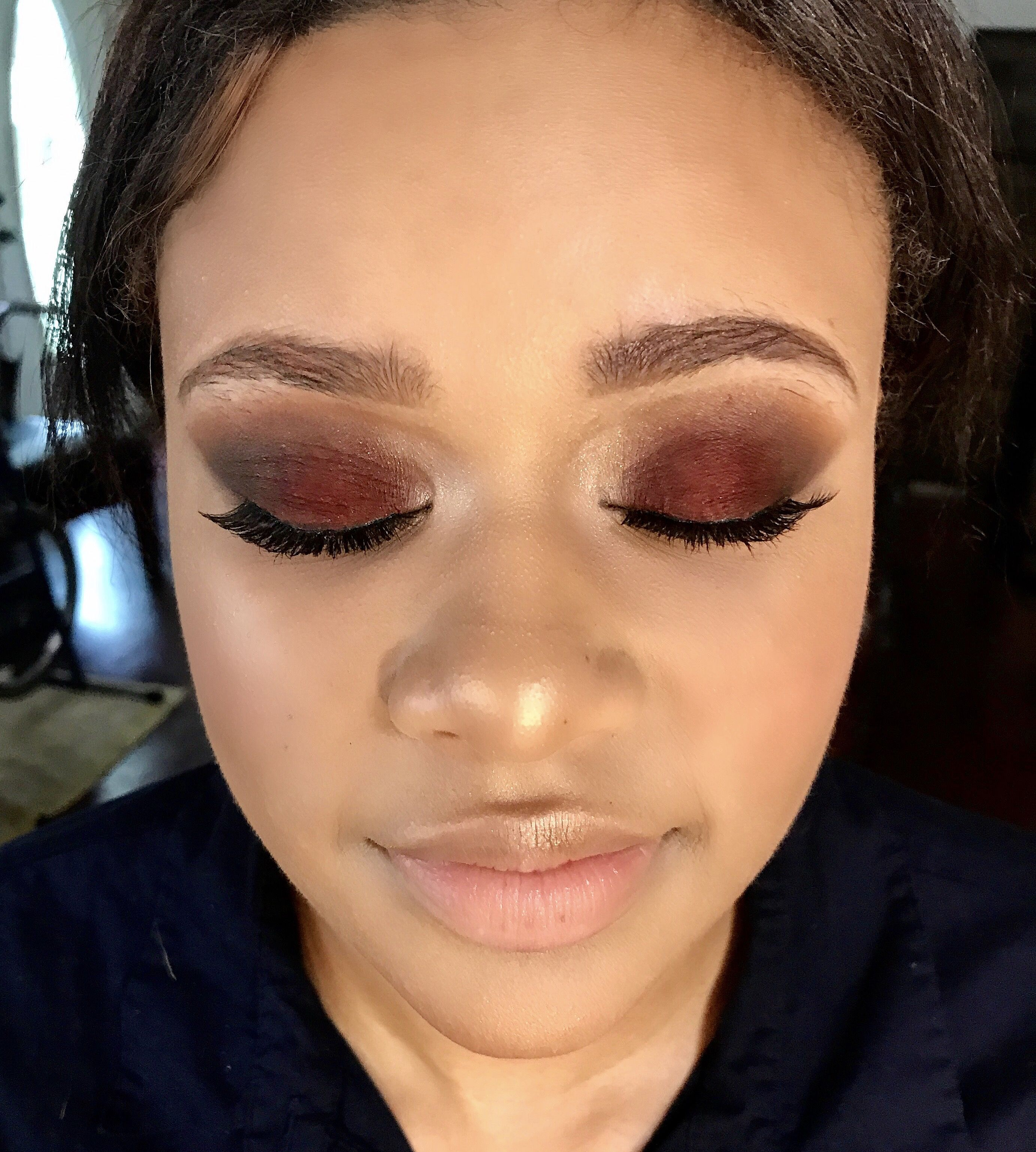 Red Maroon Prom Makeup On Medium Olive Skin Tone Makeup