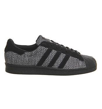 adidas superstar black white black knit