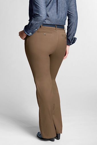 fc0b7b9de0 Women s Plus Size Exhale™ Tummy Control Stretch Chino Boot-cut Pants from  Lands  End