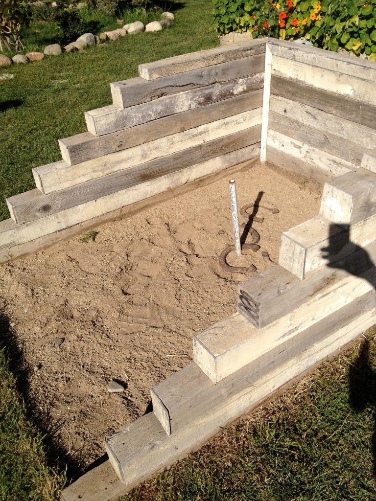 DIY Horseshoe Pit | Backyard playground, Backyard ...