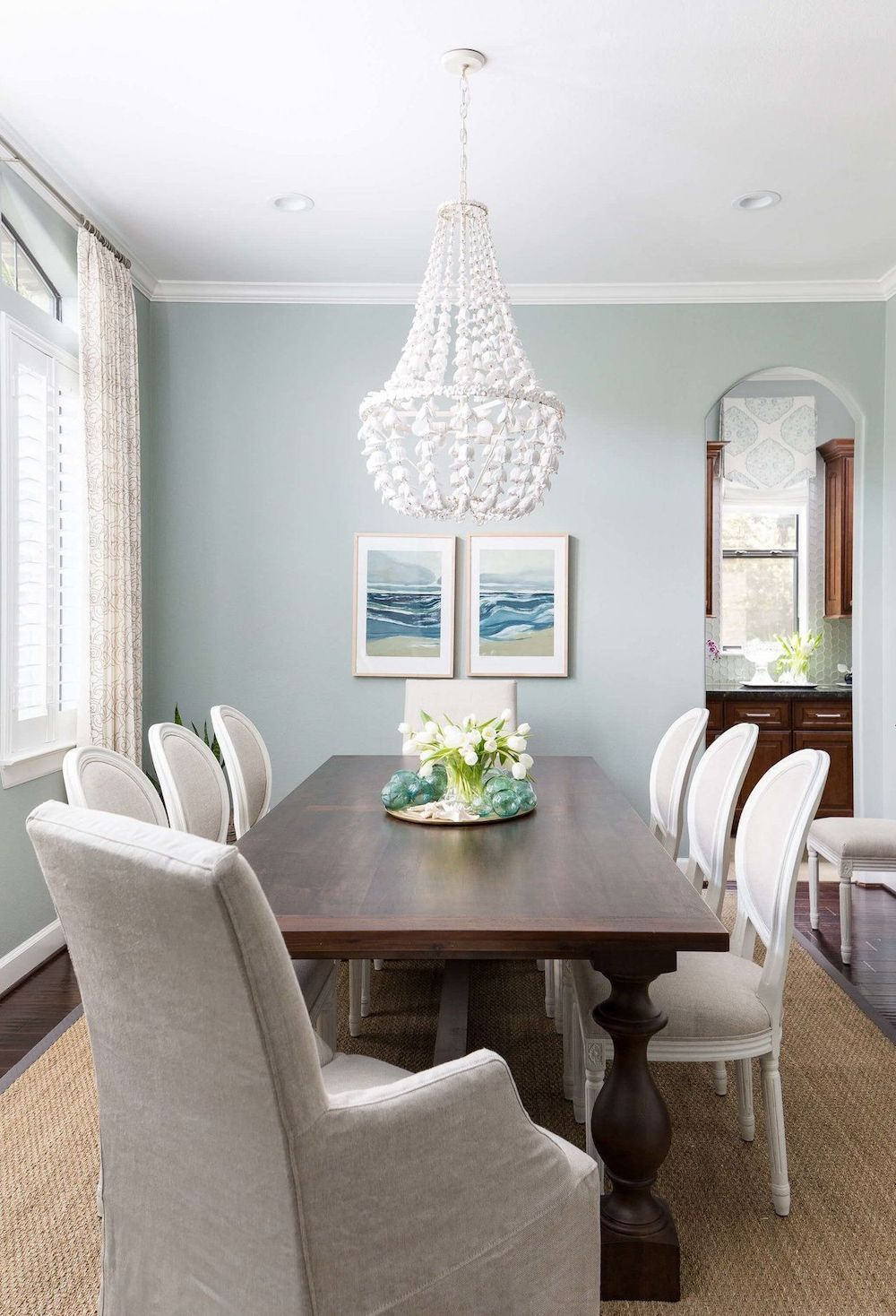 15 Coastal Chandeliers For Beach Homes Coastal Dining Room Dark Wood Dining Table Dark Dining Room