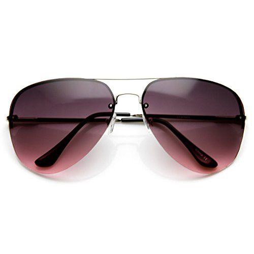 Large Rimless Wire Metal Teardrop Color Tint Aviator Sunglasses