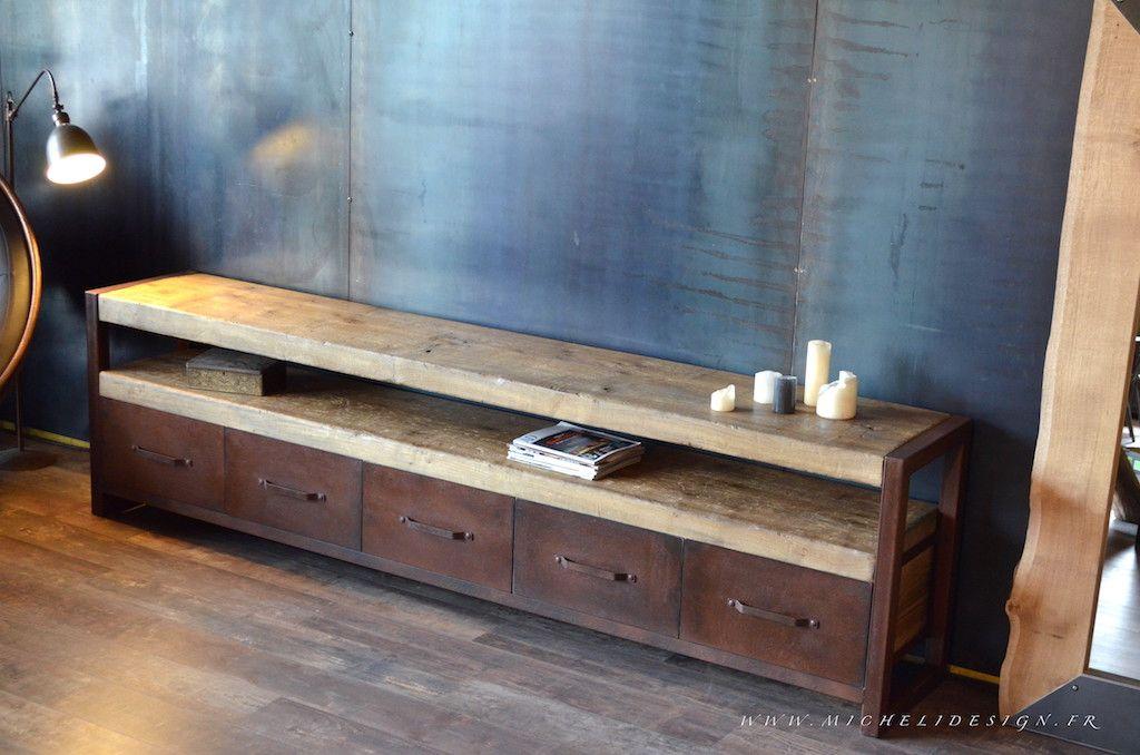 meuble tv en bois et metal de style industriel micheli design - Meuble Tv Bois Et Fer Design