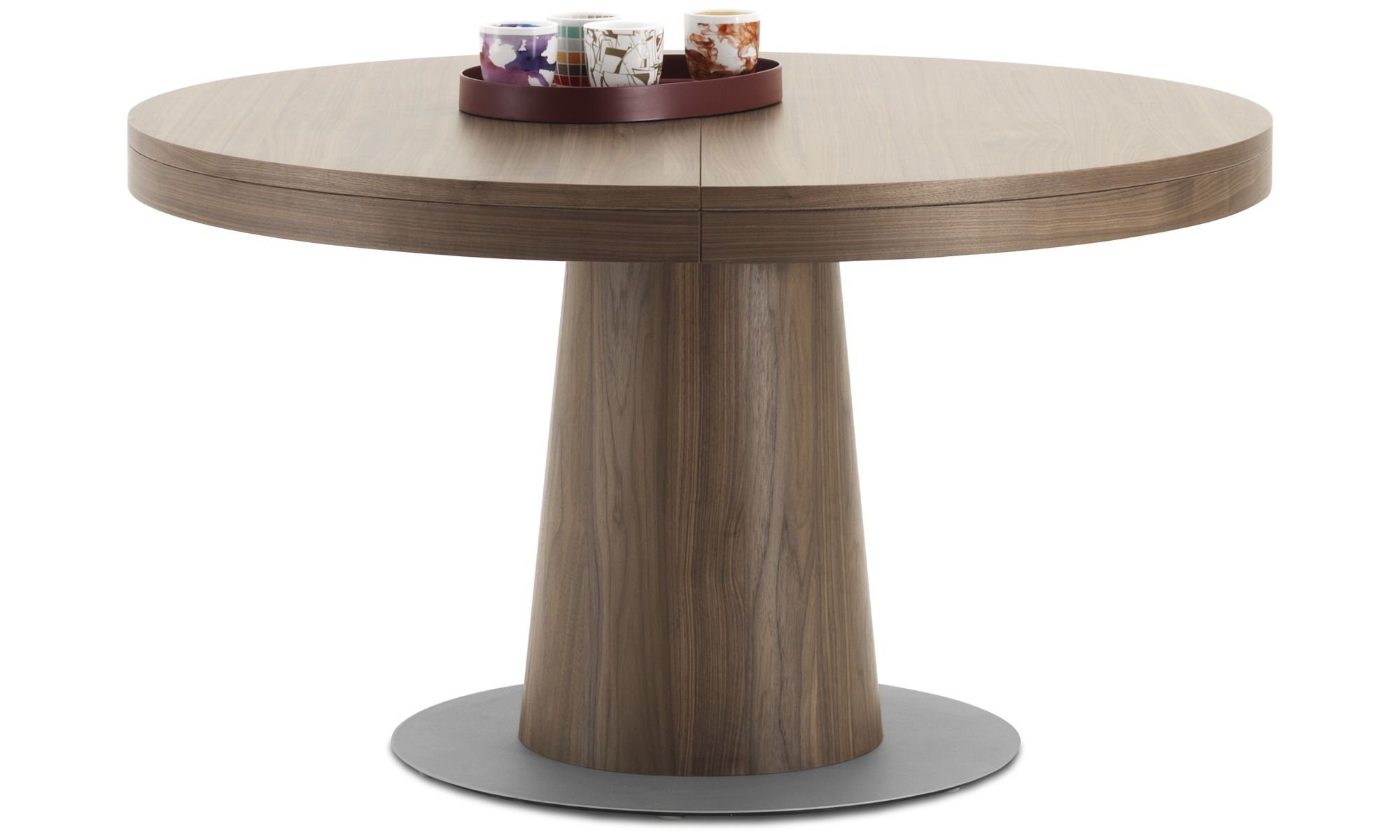 Dining Tables Granada Table With Supplementary Tabletop Round Brown Walnut Extendable Dining Table Modern Round Extendable Dining Table Dining Table