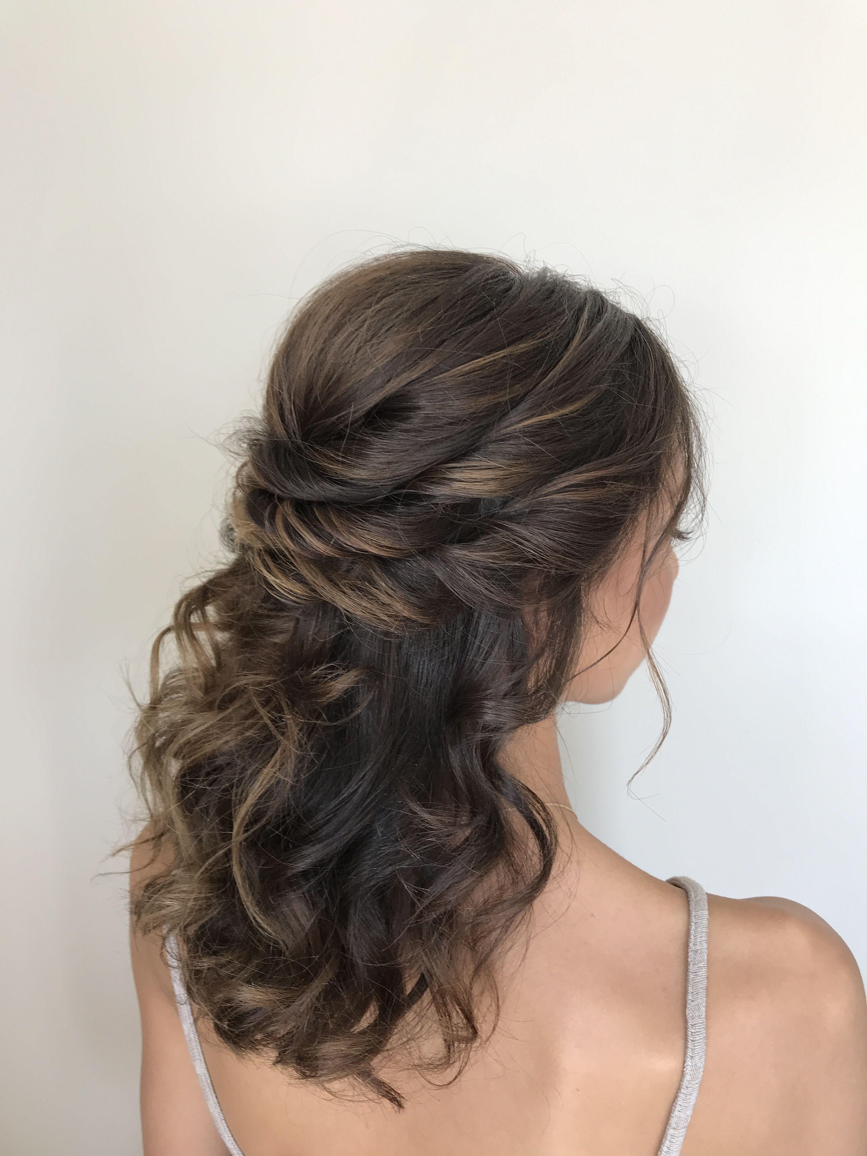 Bridal Hair Half Up Half Down Weddinghairstyles Wedding Hairstyles For Medium Hair Hair Styles Curly Prom Hair