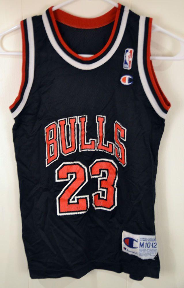 Champion Chicago Bulls Michael Jordan NBA Jersey Youth Medium 10-12 Black  #Champion #