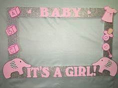 Baby Shower Elefante Rosado ~ Photo booth frame to take pictures elephant birthday baby shower