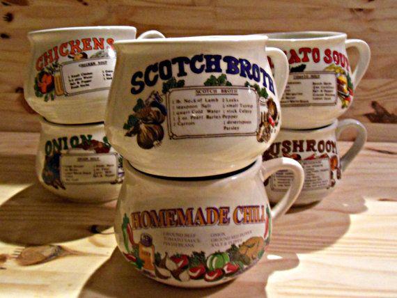 Vintage Recipe Soup Crock Soup Mug Cup 16 Oz Set Of 6 Soup