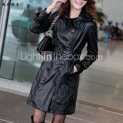Women's Long Sleeve Others/Faux Leather Trench Coat , Casual/Work - USD $61.34