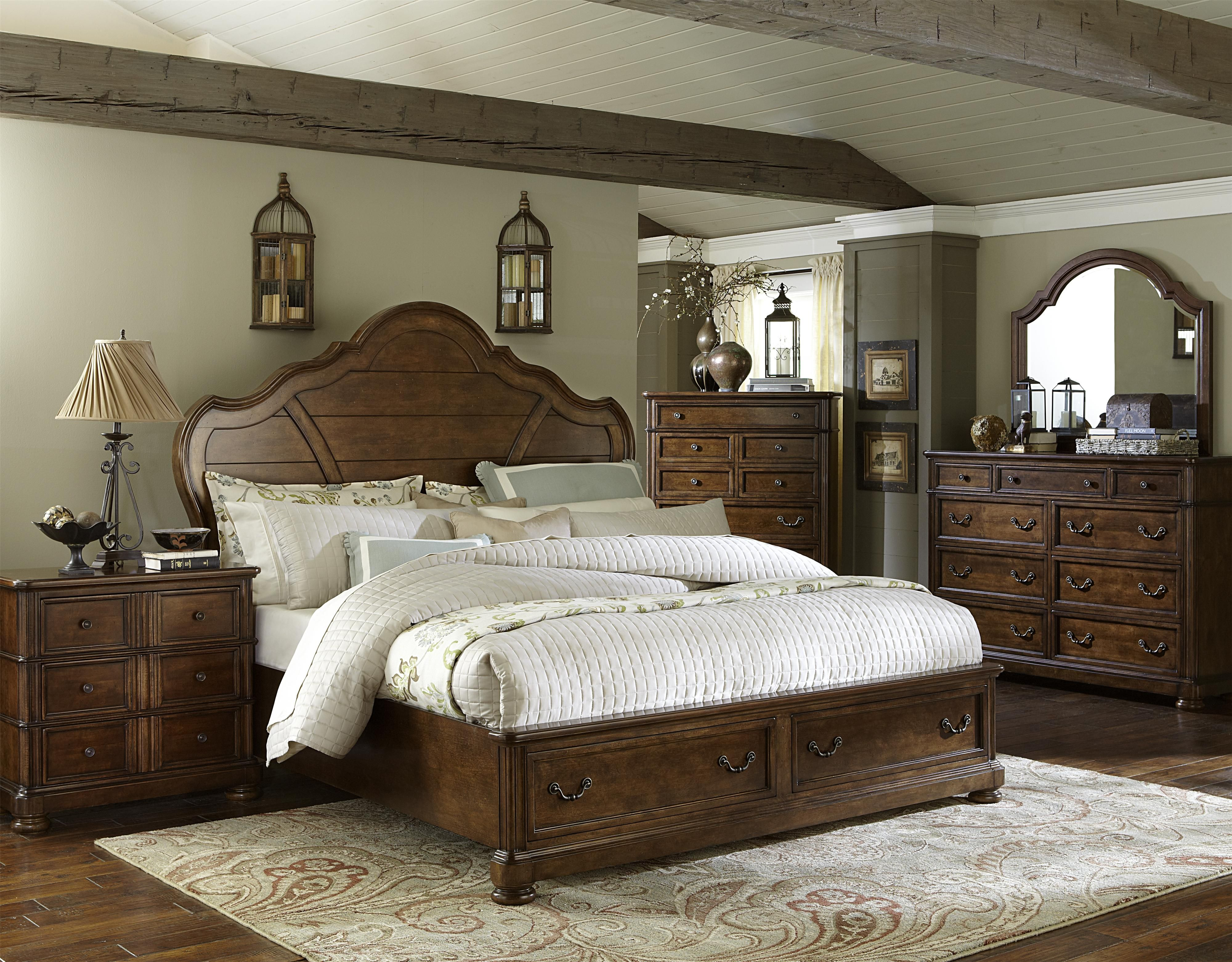 Summer-field bedroom collection is constructed with Poplar Solids, Cathedral Birch, and Short Grain Cherry Wood Veneer in a beautiful, English Leather Finish. Give your bedroom a touch of grace and impeccable style with this collection's custom designed Antique Brass hardware and unique construction.