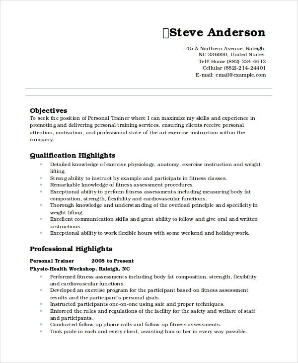 Resume Template Personal Information Personal Trainer Sample Resume Format Personal Resume Resume Template