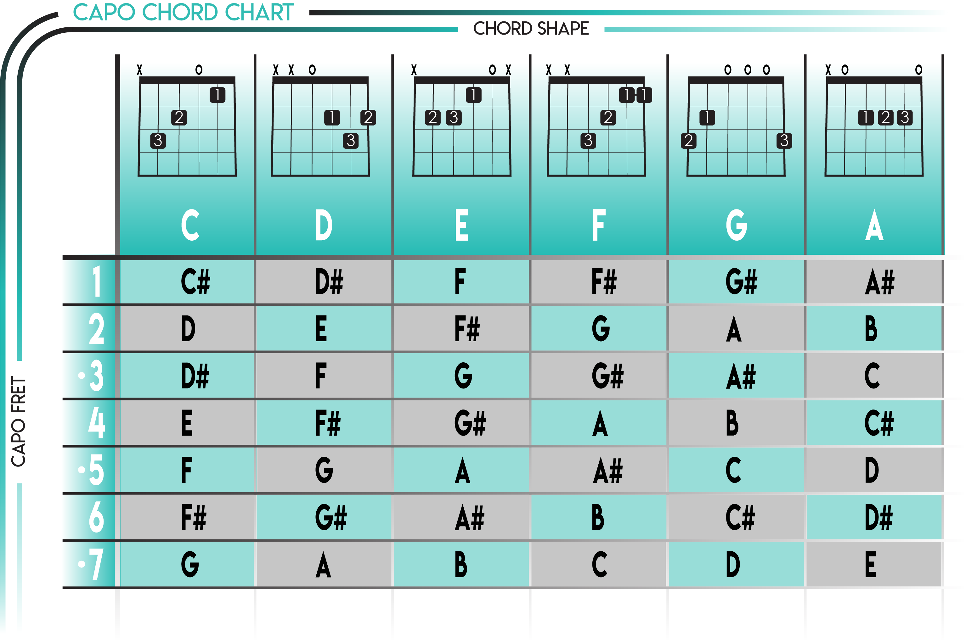 How To Use A Guitar Capo Chart Guitar Capo Guitar Chords And Scales Guitar Chords Beginner