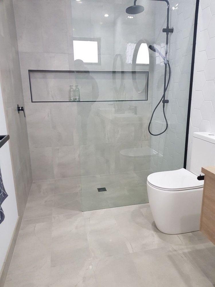 Black Framed Shower Niche Minimalist Bathroom Shower Room Elegant Bathroom