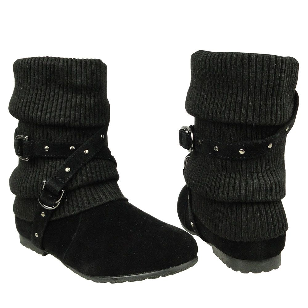 Womens Ankle Boots Slouch Knitted and Suede Cross Strap Buckles