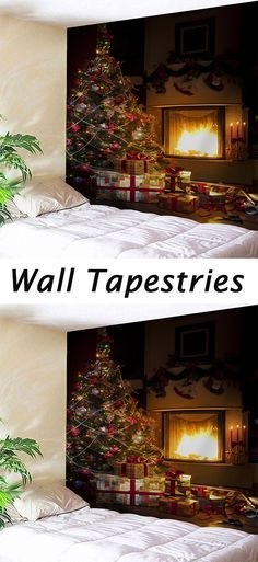 4357c848d53 Christmas decor ideas Christmas Tree Fireplace Printed Wall Tapestry ...