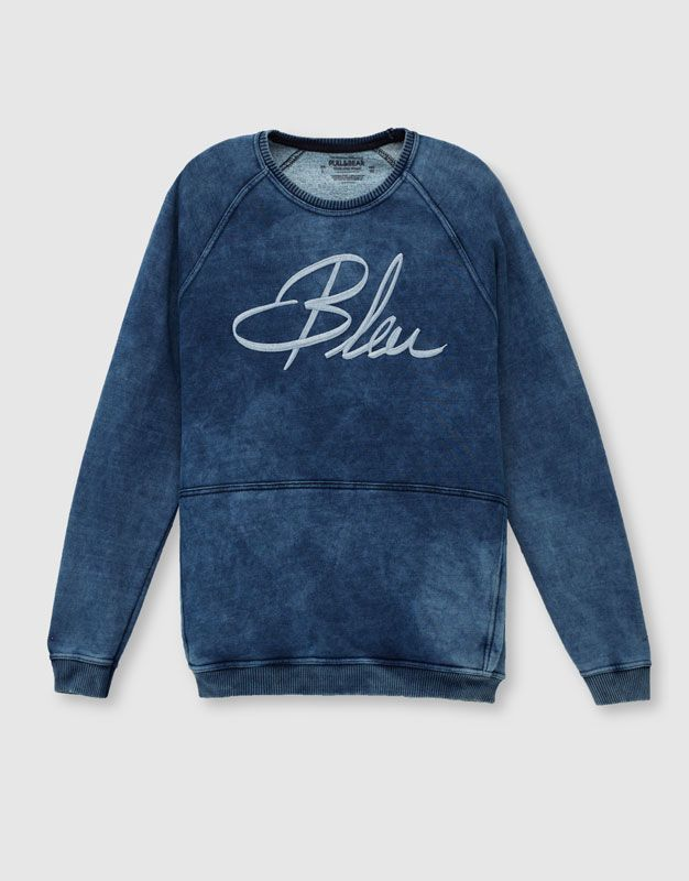 Sudadera Indigo Azul X60 Bleu Estampadas Sudaderas Ropa Hombre Pull Amp Bear Espana Urban Style Outfits Mens Fashion Urban Urban Outfits