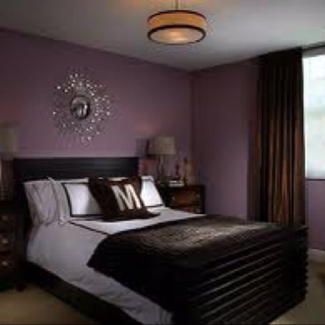 deep purple bedroom wall color with silverchrome accents - Wall Shades For Bedroom