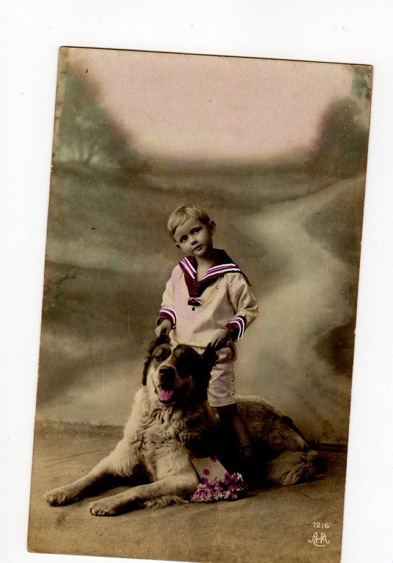 Little Boy with his Dog  Nice French by sharonfostervintage, $7.50