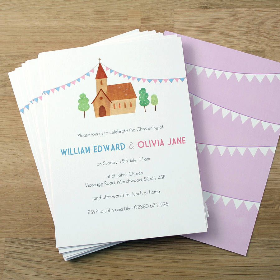 Personalised Twin\'s Christening Invitations | Christening ...