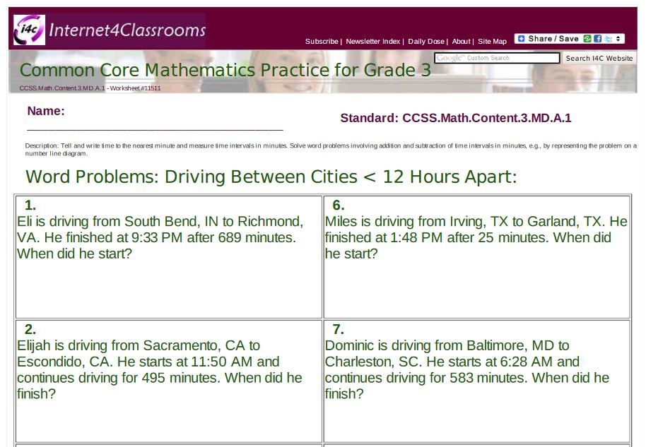Worksheets/Printables Available: 3rd Grade: Word Problems: Driving ...