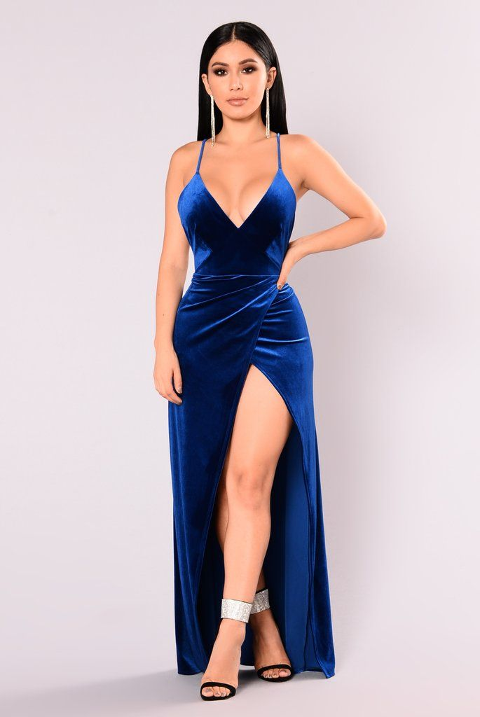 a95eddc4a66 Angelique Velvet Maxi Dress - Royal | Beautiful Satin | Fashion ...