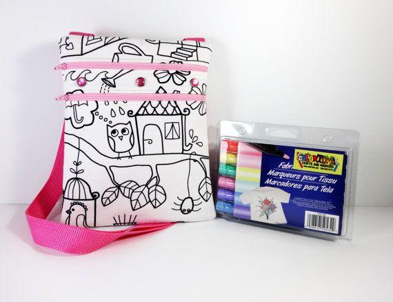 6766ea6b6b47 Color Me Bag - Little Bag - Sling Bag - Coloring Bag - Small Messenger Bag  - Small Girls Bag - Messenger Bags - Cross Body Messenger Bag