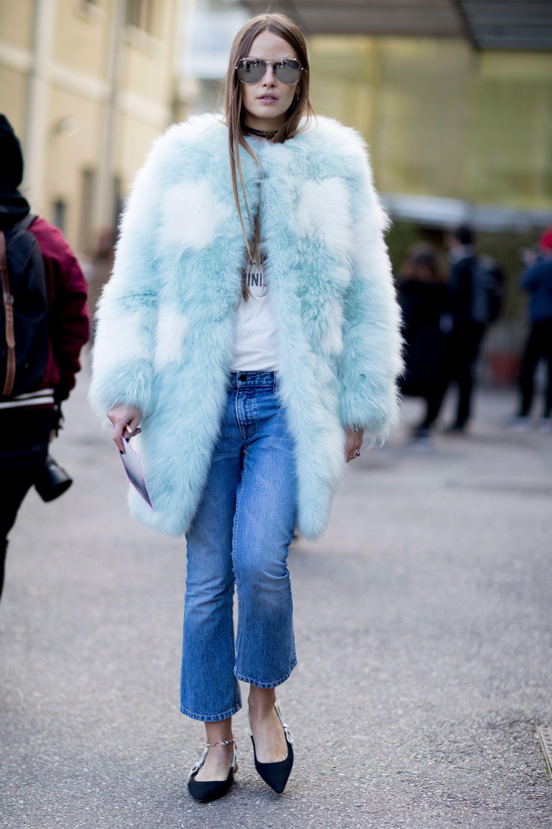 Day 4 Milan Fashion Week Street Style Fashion Colorful Faux Fur Coat