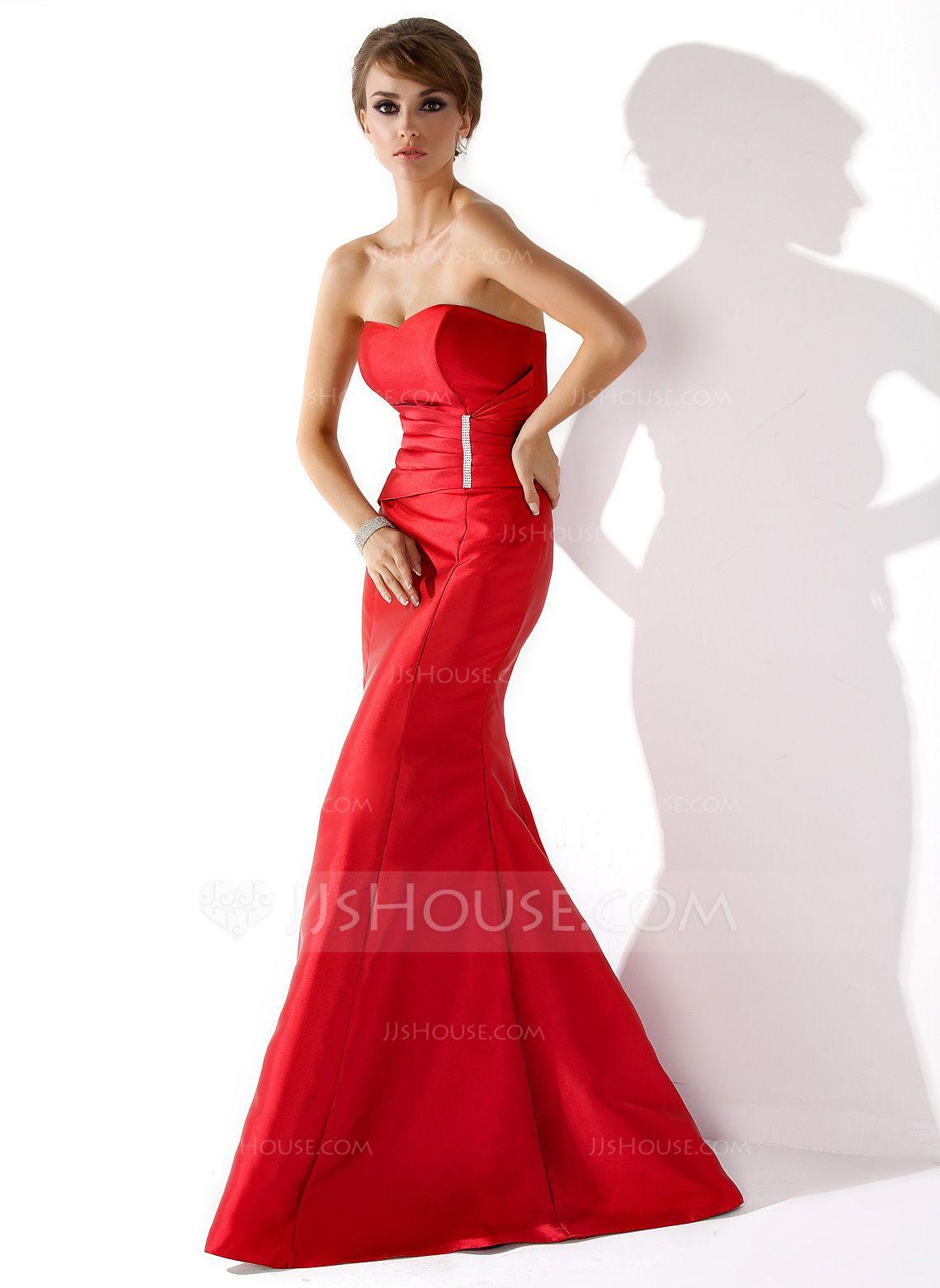 Trompete/Meerjungfrau-Linie Herzausschnitt Bodenlang Taft Abendkleid mit Rüschen Perlen verziert (017013777) - JJsHouse