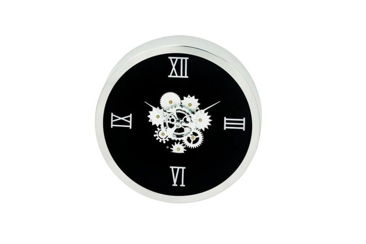 Modern Reflections 14 Stainless Steel Gear Wall Clock In Black By Uma From Gardner White Furniture Gear Wall Clock Wall Clock Round Wall Clocks