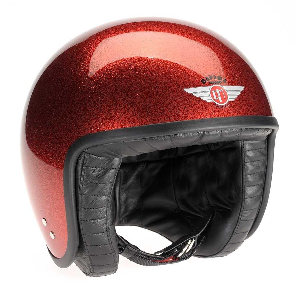 Davida Jet Helmet Cosmic Flake Red Helmet, Motorcycle