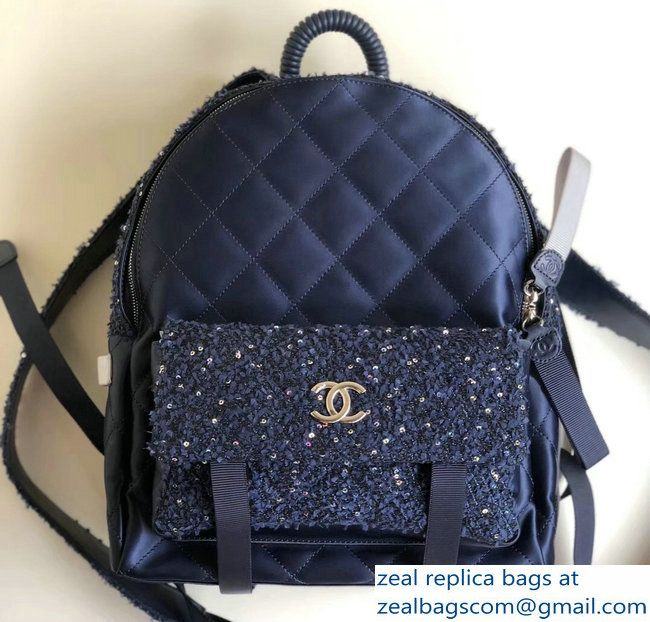 f23b7cf5c967 Chanel Tweed and Nylon Astronaut Essentials Backpack Large Bag A91964 Navy  Blue 2017/2018