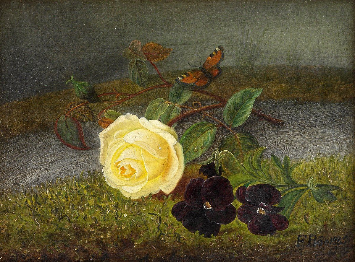 Desailaur Bersir (@Desailaur) | Twitter -Elisabeth Hungría @Helisabethhh Oppstilling med rose og fioler, 1885 Frants Bøe