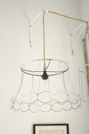 Pin by batch by batch on cool cafes pinterest lampshades wire from lamp shades to antique wired chandeliers love wouldnt it be beautiful to put a smaller cylindrical lampshade inside this to diffuse the light greentooth Choice Image