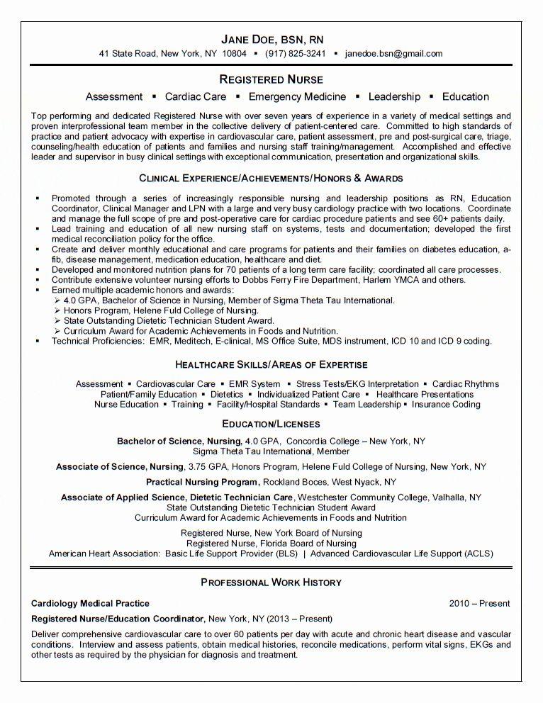 Cardiac Icu Nurse Resume Best Of Registered Nurse Resume