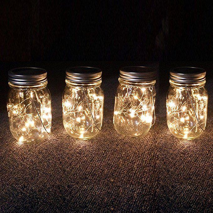 Mason Jar Tiki Solar Lanterns Lights, 4 Pack
