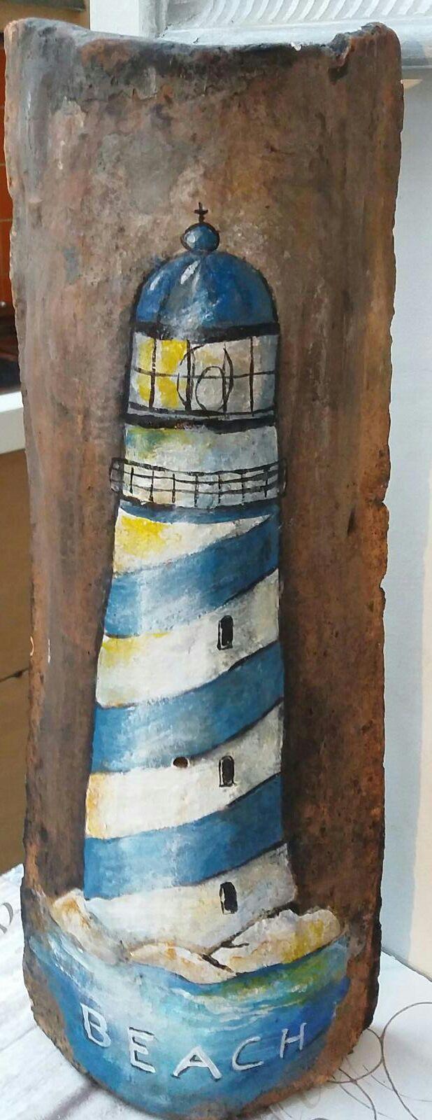 Come Dipingere Vecchie Tegole faro su tegola antica. dipinto a mano con acrilici (con