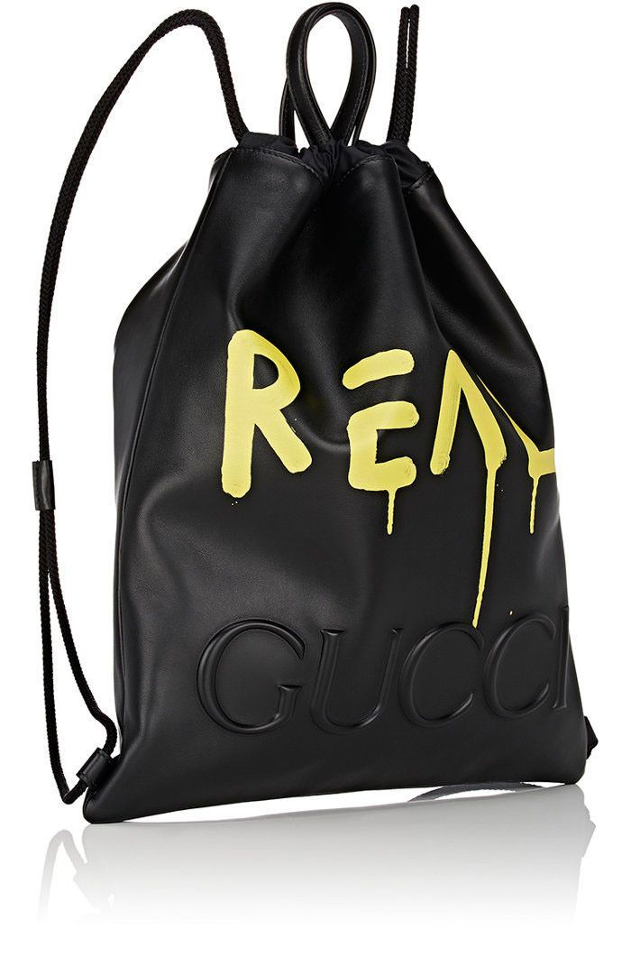 Black Leather Gucci Ghost Drawstring Backpack  b813ae82ad3e7