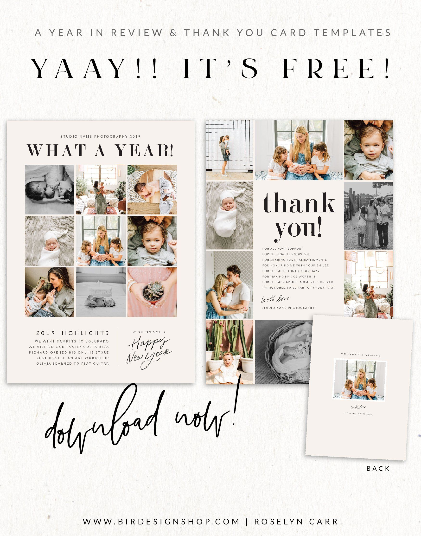 Free Studio Cards Thank You Cards A Year In Review Photo Card Template Christmas Card Templates Free Free Photo Cards