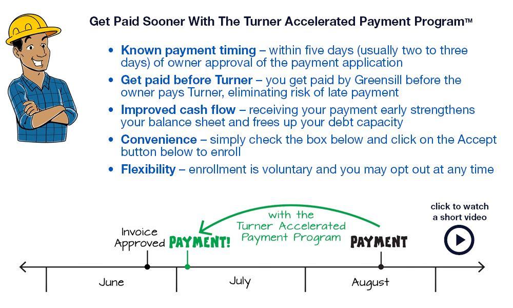Turner accelerated payment program turner construction