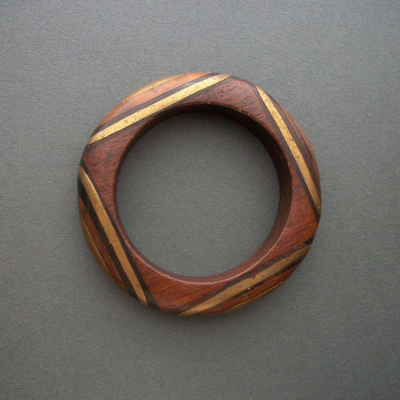 Vintage Bracelet | Designer unknown.  Wood inlaid with brass and dark wood.