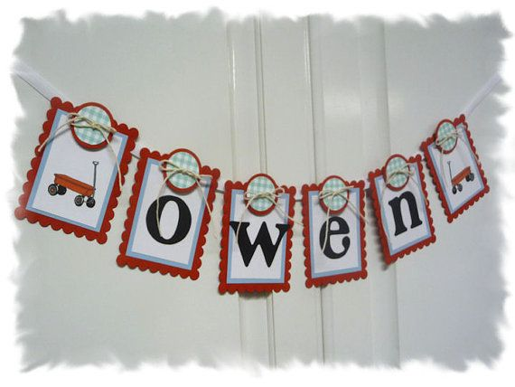 Personalized Baby Child Name Banner  Little Red by AspenArtsStudio, $11.50