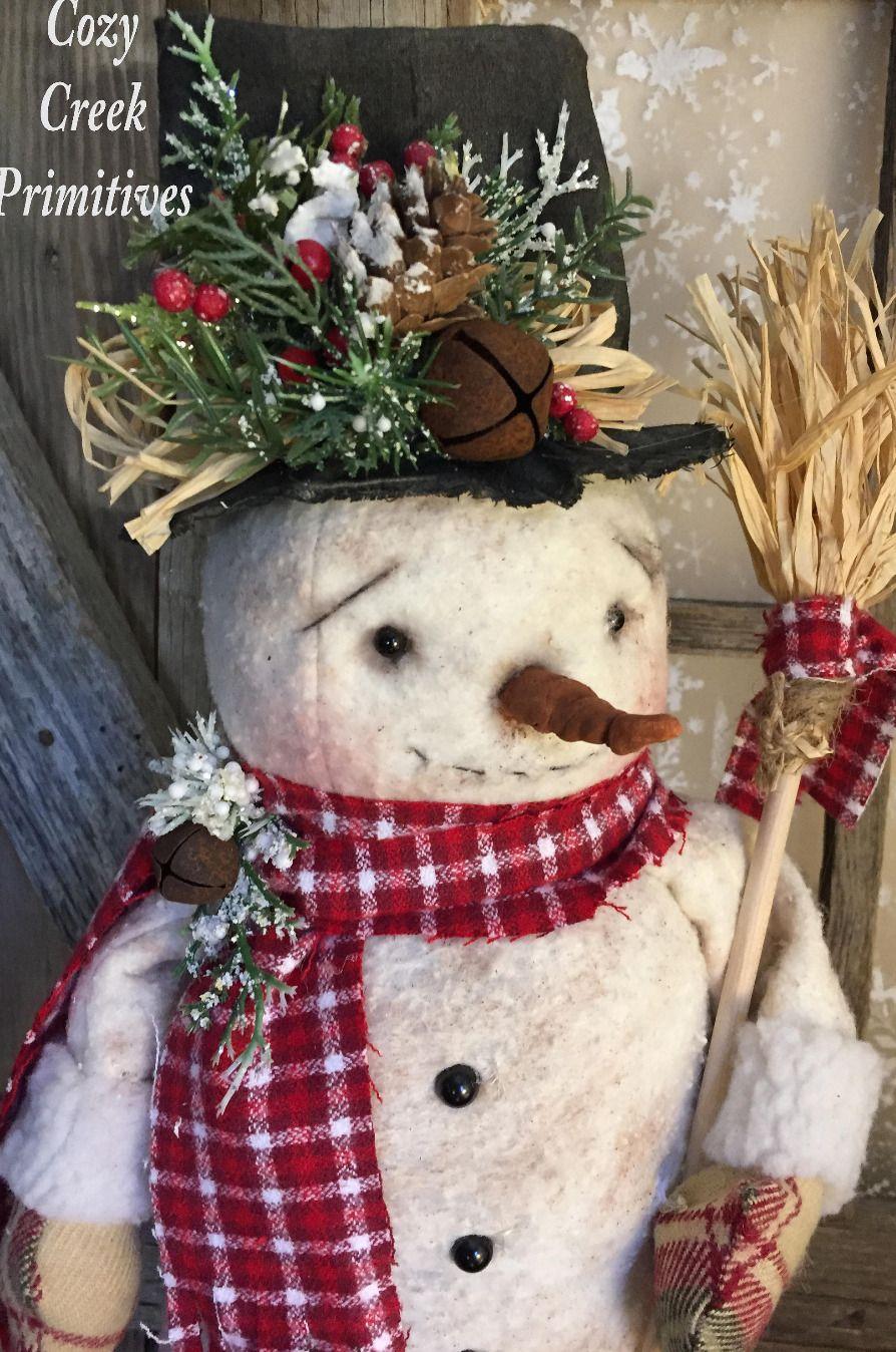 Handmade Snowman Primitive