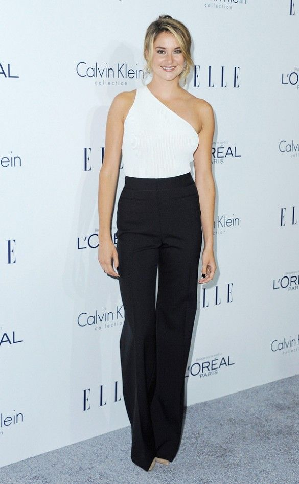 91336f5fe148 Shailene Woodley wears a black and white Calvin Klein Collection jumpsuit.