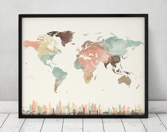 World map print watercolor travel map large world map world map travel map with cities wall art poster world map watercolor print pastel gumiabroncs Images