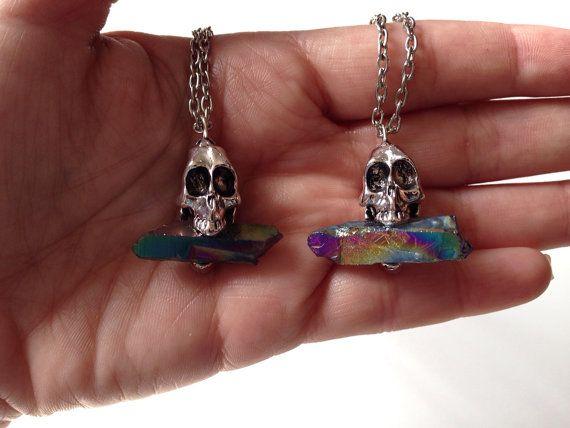 Silver Skull Necklace Quartz Crystal Pendant by francisfrank