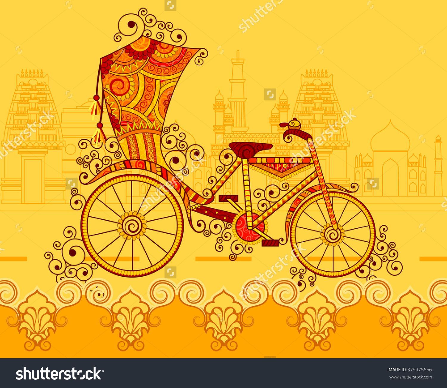 Vector Design Of Cycle Rickshaw In Indian Art Style 379975666