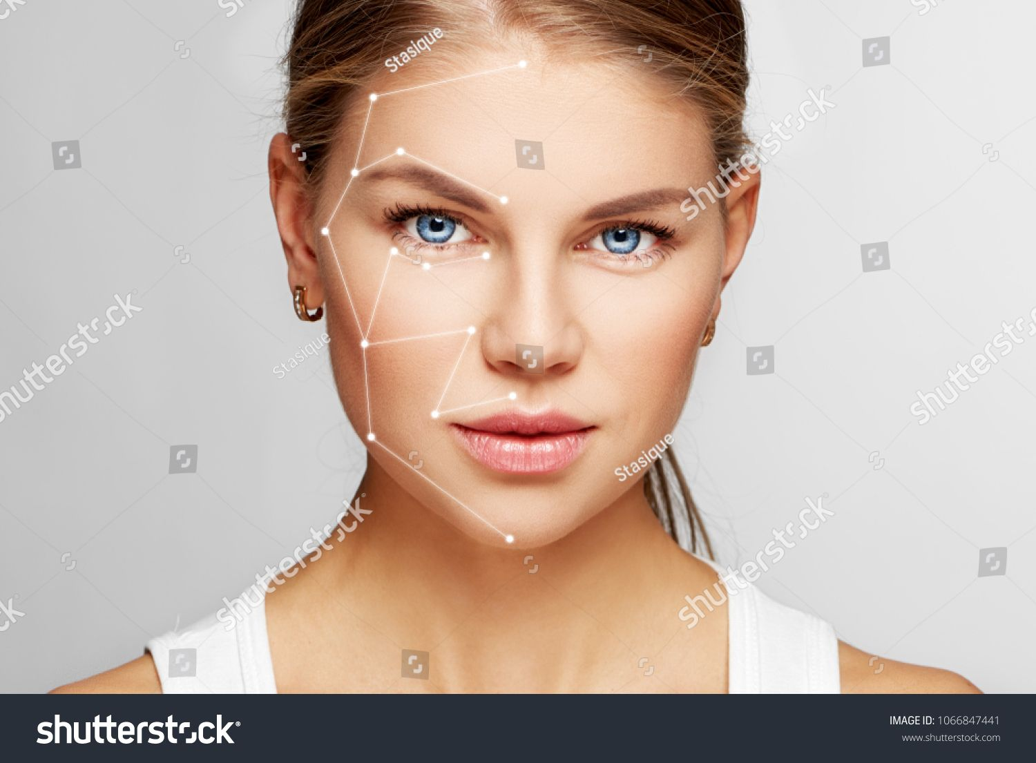 Skin Care And Technology Portrait Of Beautiful Woman Face With Drawn Massage Lines Portrait Beautiful Technology Sk Beautiful Women Faces Woman Face Portrait